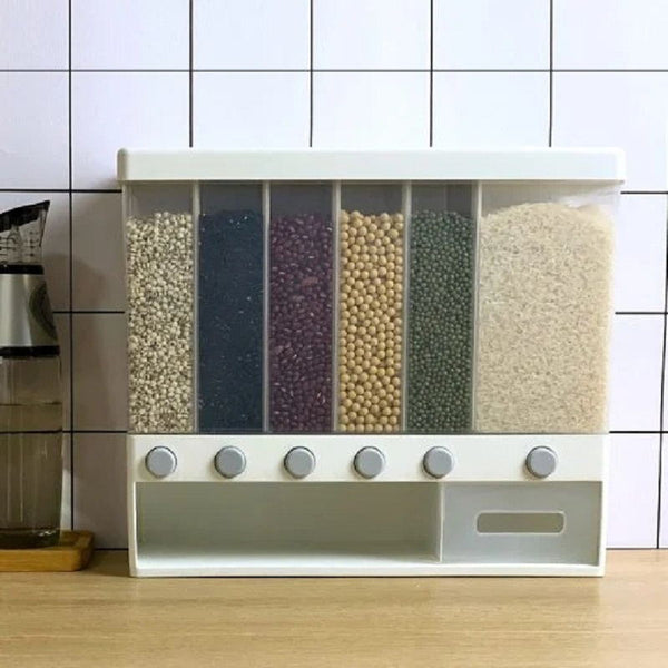Kitchen Wall Mounted Divided Rice Food Storage Box 6 Grids
