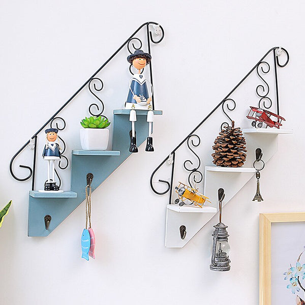 Home Decor Wooden Wall Mounted Staircase Storage Racks for Bookshelf