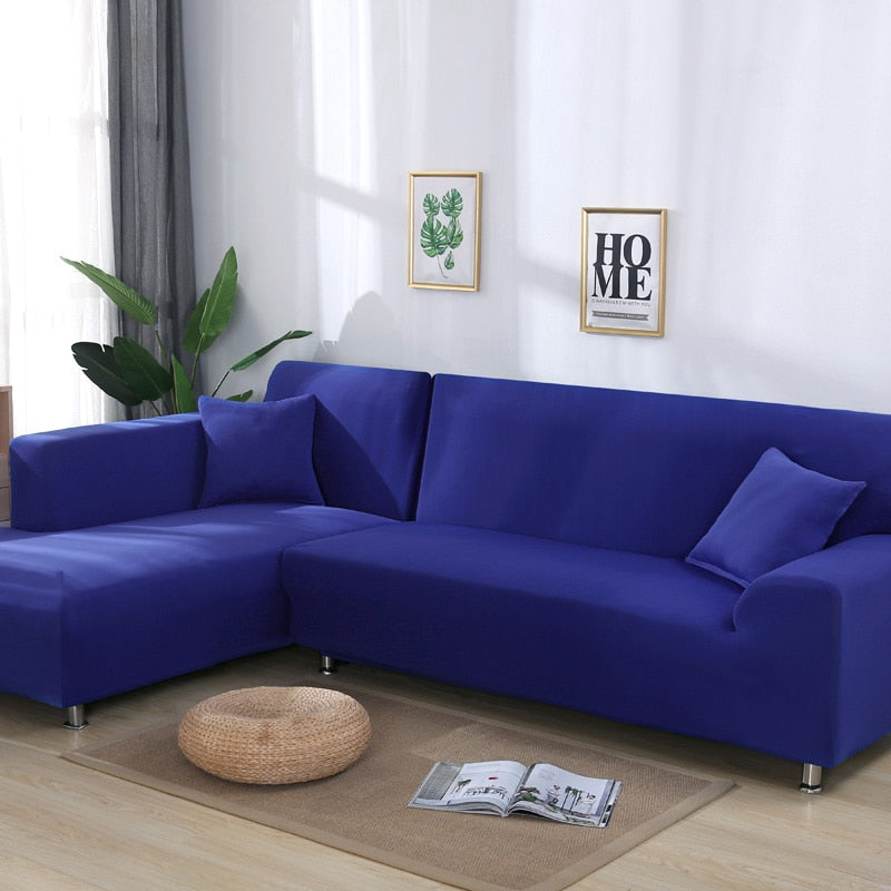 Living Room Solid Color Corner Sofa Covers for  Elastic Spandex Slipcovers