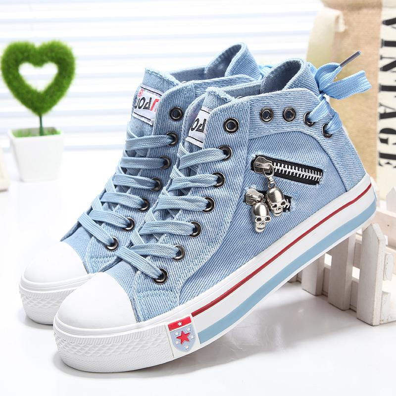 Denim High-Top Back Lace-up Canvas Shoes