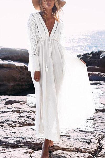 Best Casual Lace Beach Vacation Maxi Dress