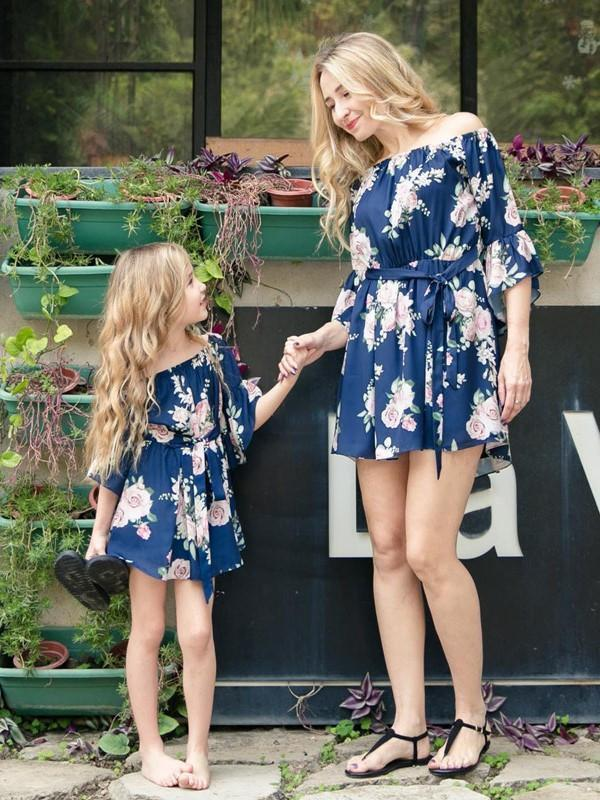 Floral Off Shoulder Mommy And Me Matching Dresses