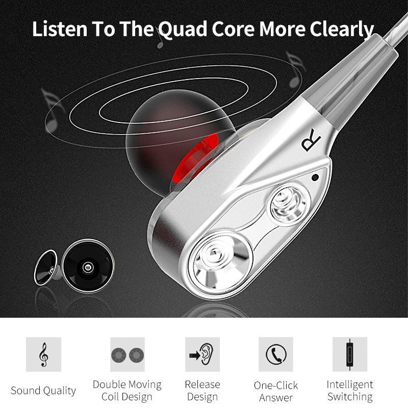 4D Earphone Deep Bass Stereo Wired Headphone with Mic for All Smartphones