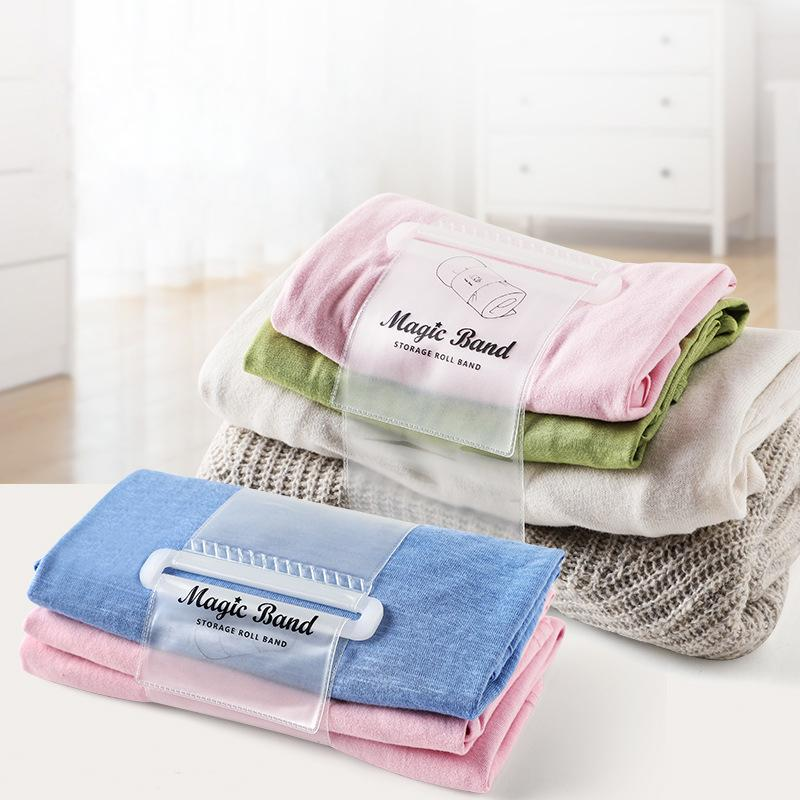 Self-adhesive Clothes Storage Roll-up Straps