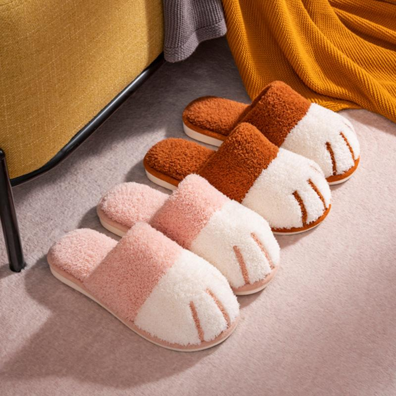 Winter Cat Paw Cotton Slippers