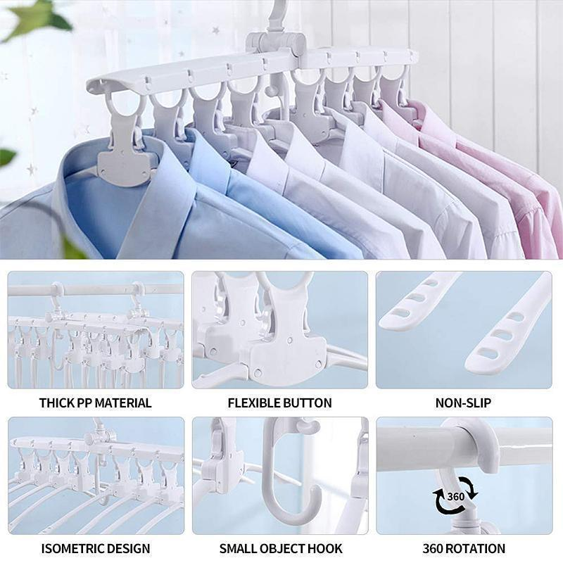 8 In 1 Multifunctional Folding Hanger For Space Saving