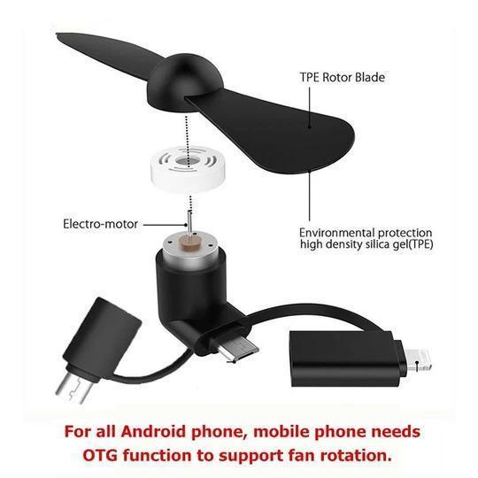 Portable Mini Cooling Fan For Android, IOS&Type C