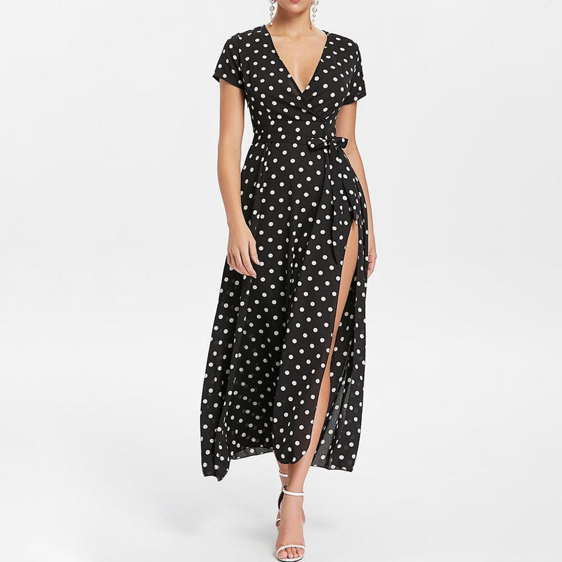 Belted Polka Dot Maxi Dress