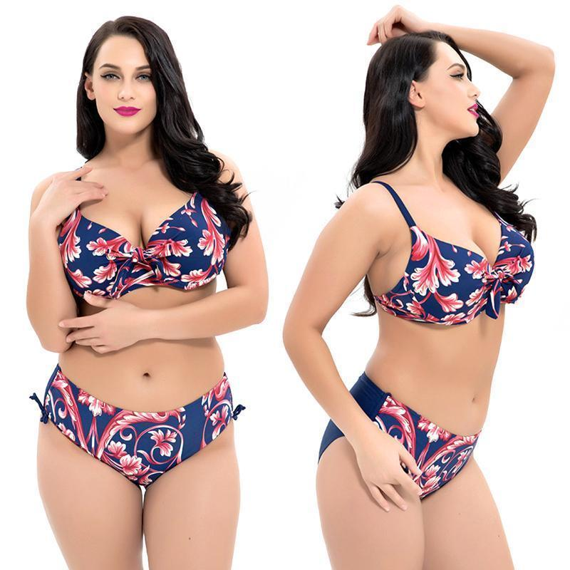 High Waist Printed Bikini Set (Large Size)