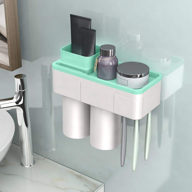 Practical Toothbrush Holder Set With Toothpaste Dispenser