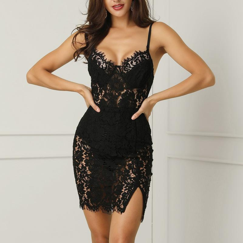 Dress with lace straps