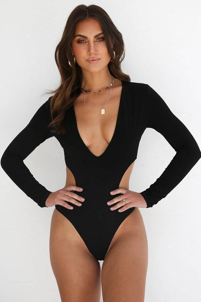 New Deep V Cutout High Cut Monokini One Piece Swimsuit in Black.MC