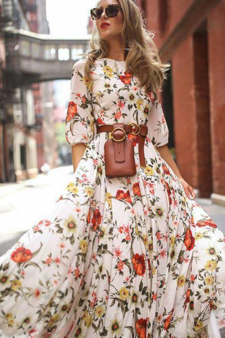 Best Floral Peasant 3/4 Sleeves Maxi X-line Dress