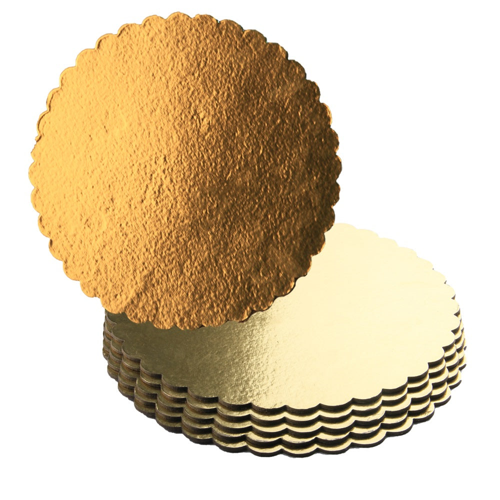 FineDecor Gold Cake Board 10 INCH Round Cardboard (5 Pieces), Cardboard Round Cake Circle Base, 10 Inches Diameter (Gold) - Bakersville Shop