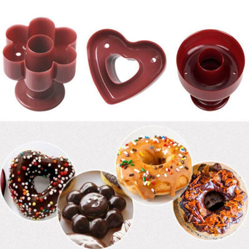 FineDecor Professional Heart Shaped, Round Shaped & Flower Shaped Donut Cutters  (Set Of 3) - Bakersville Shop