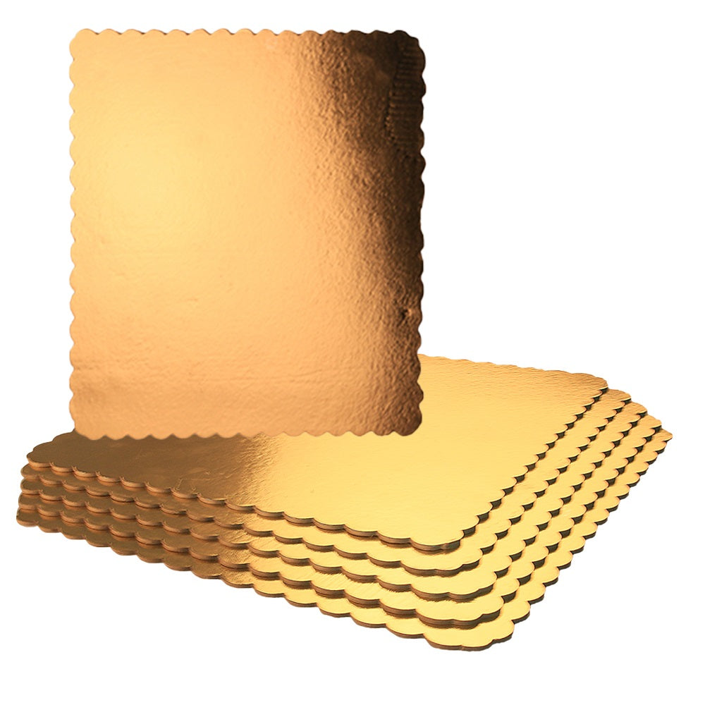 FineDecor Gold Cake Board 10 INCH Square Cardboard (5 Pieces), Cardboard Square Cake Rectangle Base, 10 Inches Diameter (Gold) - Bakersville Shop