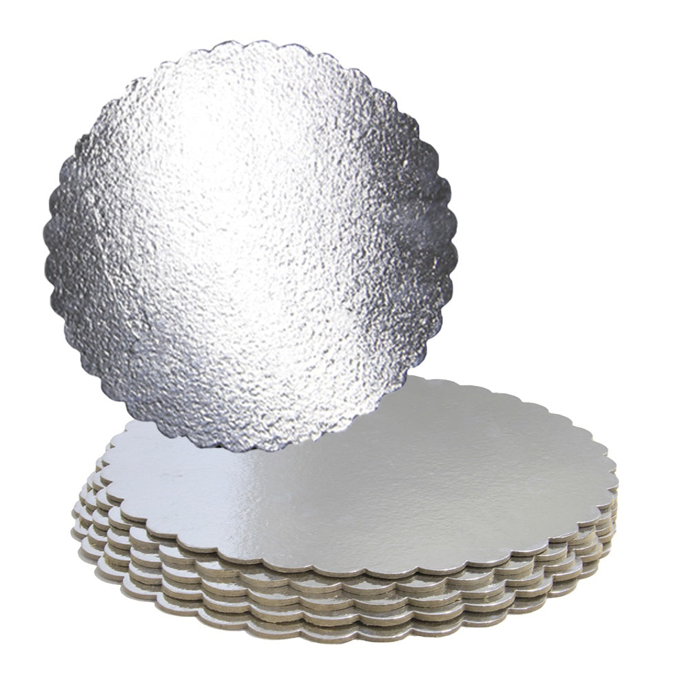 FineDecor Silver Cake Board 10 INCH Round Cardboard (5 Pieces), Cardboard Round Cake Circle Base, 10 Inches Diameter (Silver) - Bakersville Shop