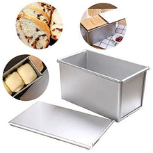 Load image into Gallery viewer, FineDecor Premium Nonstick Aluminium Steel Bread Mould / Loaf Pan / Bread Pan / Toast Mould / Bread Tin with Cover Bakeware (Silver) For 300 gm, FD 3117