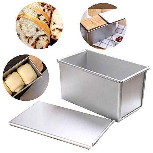 FineDecor Premium Nonstick Aluminium Steel Bread Mould / Loaf Pan / Bread Pan / Toast Mould / Bread Tin with Cover Bakeware (Silver) For 300 gm, FD 3117