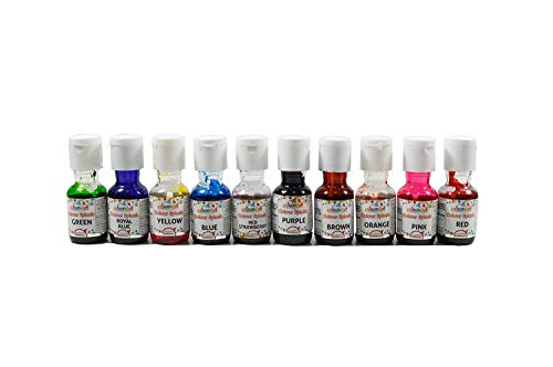 Colourmist Colour Splash Assorted 20 Ml, Pack of 10 Colours (Yellow, Orange, Green, Blue, Purple, Red, Brown, Pink, Royal Blue, Red Strawberry) - Bakersville Shop