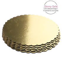 Load image into Gallery viewer, FineDecor Gold Cake Board 7 INCH Round Cardboard (5 Pieces), Cardboard Round Cake Circle Base, 7 Inches Diameter (Gold) - Bakersville Shop