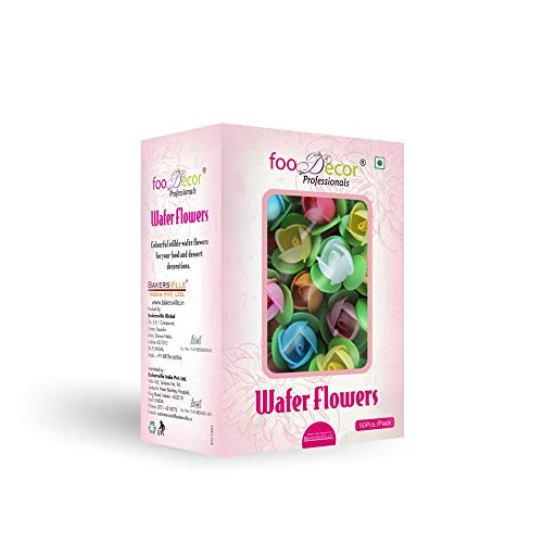 Foodecor Professionals Wafer Flowers (Rose with Round Leaf)- 50pcs -BV 2729 - Bakersville Shop