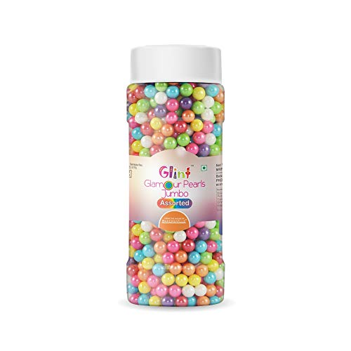 Glint Glamour Pearls Balls for Cake Decoration (Assorted Jumbo), 75g