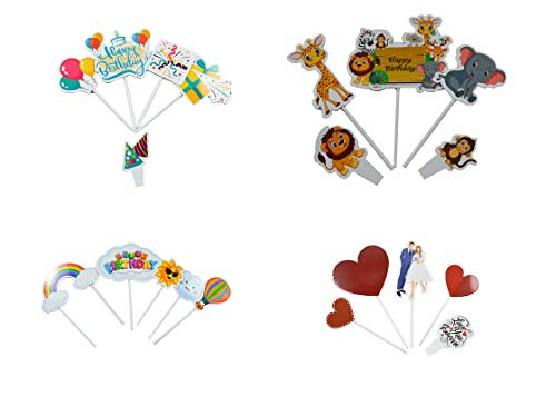 Let's Party 4 in 1 (Jungle, Birthday, Love & Rainbow) Assorted Theme Cake Topper Pack of 4, 20 Pieces - Bakersville Shop