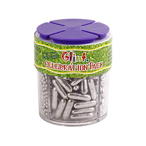 Glint Celebration Pack - Small, 100 Gm (Silver Dragee, Silver Button Dragee, Silver Rice Dragee, Silver Capsule Dragee) - Bakersville Shop
