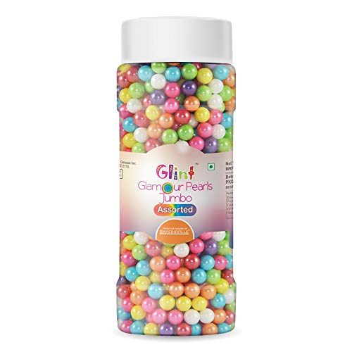 Glint Glamour Pearls Balls for Cake Decoration (Assorted Jumbo),150 g - Bakersville Shop