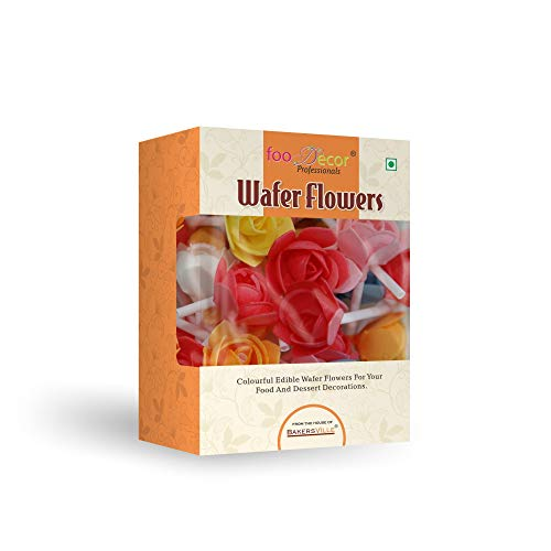 Foodecor Professionals Wafer Flowers (Rose with Stick)- 25pcs -BV 2802 - Bakersville Shop