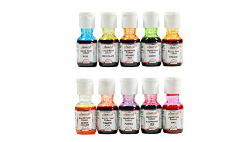 Colourmist Liquid Food Colour Assorted 20 Gm, Pack of 10 Colours (Orange, Blue, Orange Red, Raspberry Red, Purple, Lemon Yellow, Green, Chocolate, Tomato Red, Pink) - Bakersville Shop