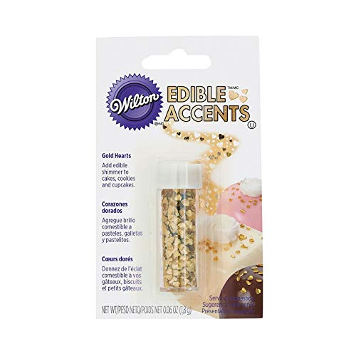 Wilton Edible Glitter Hearts, Gold, 1.8 g - Bakersville Shop