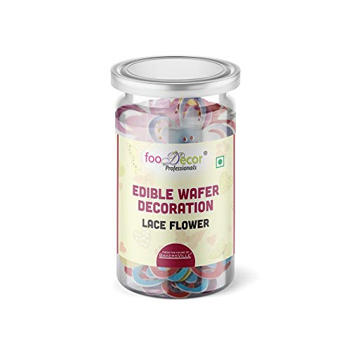 Food decor Edible Wafer Decoration Lace Flower-Bv-2836 (30 Pieces x 1 Jar), 30 g - Bakersville Shop