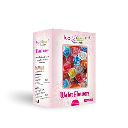 Foodecor Professionals Wafer Flowers (Rose 1)- 50pcs -BV 2728 - Bakersville Shop