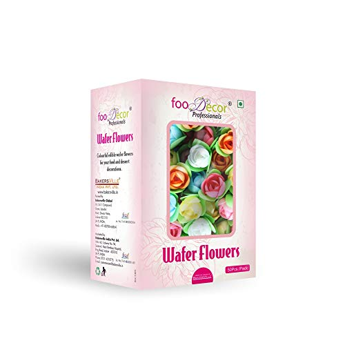 Foodecor Professionals Wafer Flowers (Rose with Triangular Leaf)- 50pcs -BV 2730 - Bakersville Shop