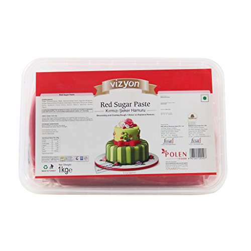 Vizyon Sugar Paste (Fondant) - Red 1 kg, 1000 g - Bakersville Shop