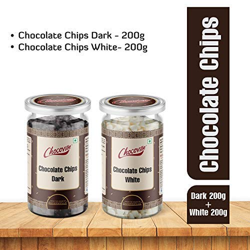 Chocoville Chocolate Chips Combo (Dark Chips, 200 g + White Chips, 200 g) - Bakersville Shop
