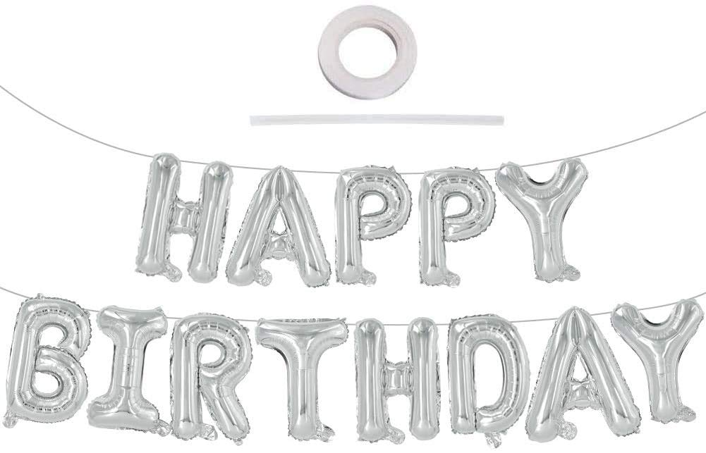 Let's Party Happy Birthday Balloon Silver (16 Inch), 13 Pcs Reusable