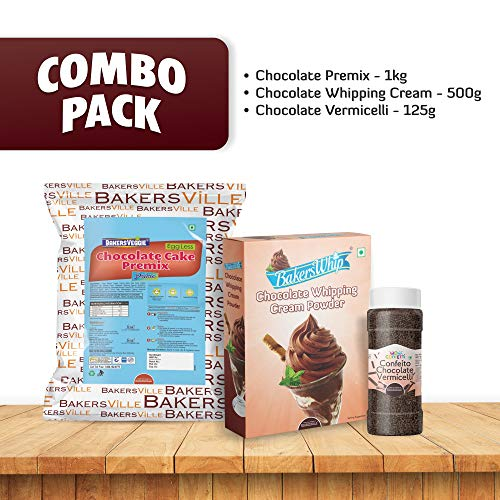 Bakersville Cake Decoration Kit (Combo Pack of Chocolate Whipping Cream Powder 450g, Chocolate Cake Premix 1kg, Chocolate Vermicelli 125g) - Bakersville Shop