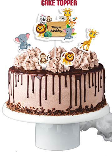 Let's Party Cake Topper Jungle Theme Pack of 4, 20 Pieces
