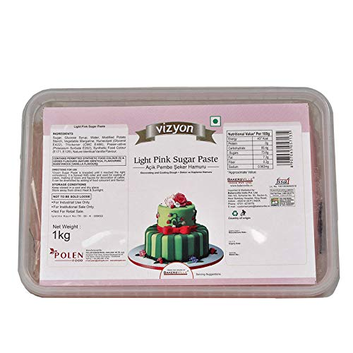 Vizyon Sugar Paste (Fondant) Light Pink, 1 Kg - Bakersville Shop