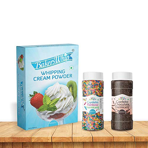 BakersWhip Whipping Cream & Wow Confetti™ Confeito Vermicelli Combo (Rainbow 125g & Chocolate 125g) (Sprinkles) - Bakersville Shop
