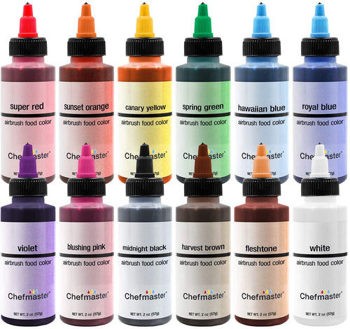 Chefmaster Airbrush Assorted Kit 57g, Pack of 12 Airbrush Colours - Bakersville Shop