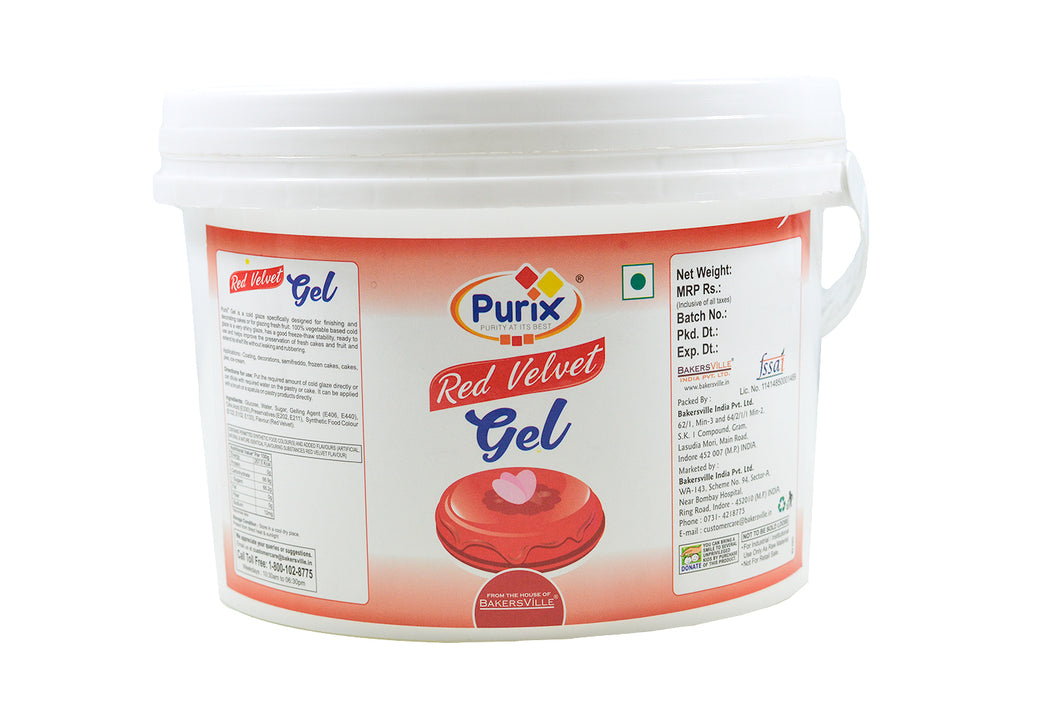 Purix Red Velvet Gel Cold Glaze, 2.5 Kg (Ready to Use) - Bakersville Shop