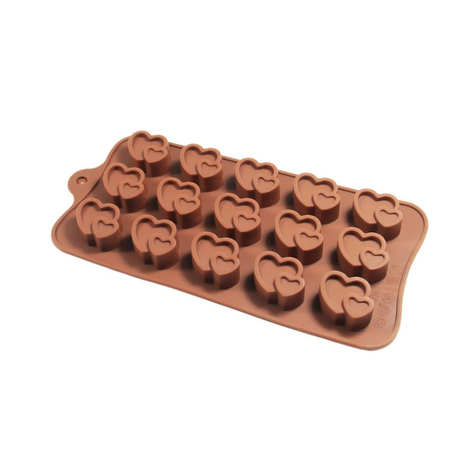 Finedecor Silicone Double Heart Chocolate Mould - FD 3135, (15 Cavities) - Bakersville Shop