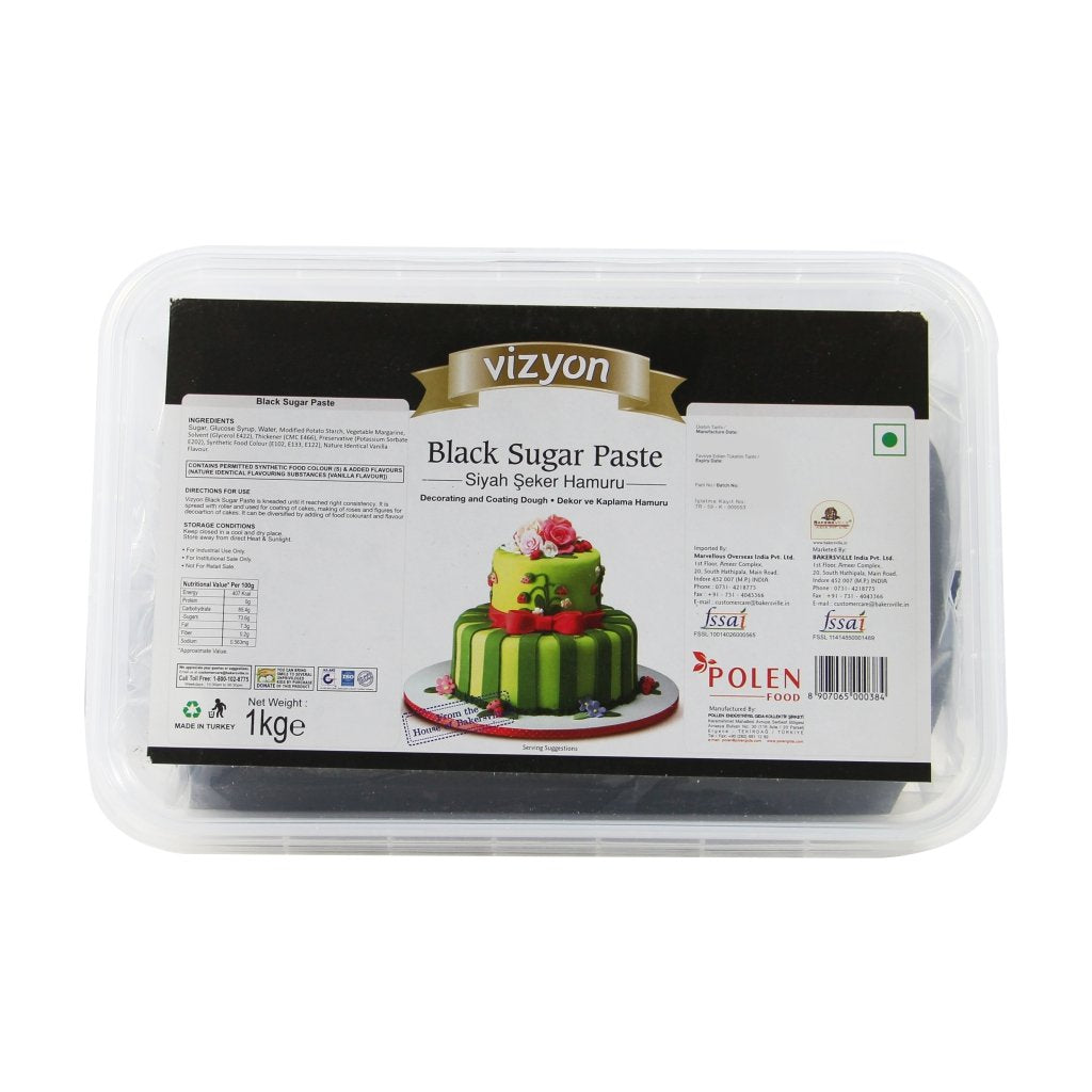 Vizyon Sugar Paste Fondant Black, 1 KG - Bakersville Shop