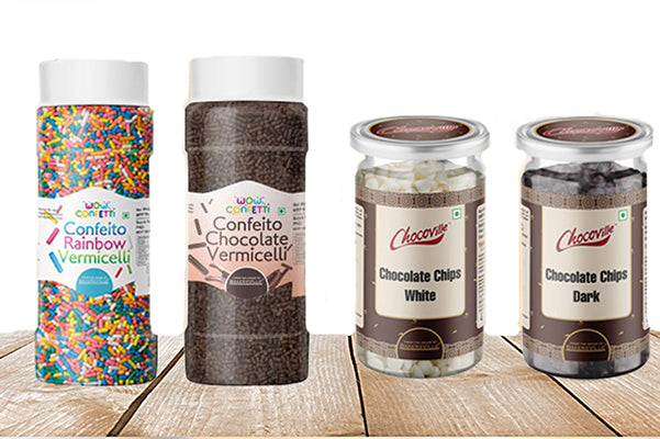 Cake Decoration Kit (Combo Pack of Chocoville Dark Choco Chips (200 gm), Chocoville White Choco Chips(200 gm), Wow Confetti Chocolate Vermicelli(125 gm) & Wow Confetti Rainbow Vermicelli (125 gm)