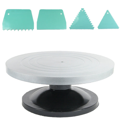 FineDecor Cake Turntable 12 Inch (30 cm) & Assorted Cake Scrapper Set of 4 Combo. - Bakersville Shop