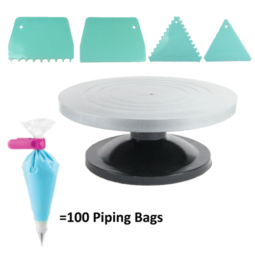 FineDecor Cake Turntable 12 Inch (30 cm) & Piping Pastry Bag (100 Pcs) & Assorted Cake Scrapper Set of 4. - Bakersville Shop